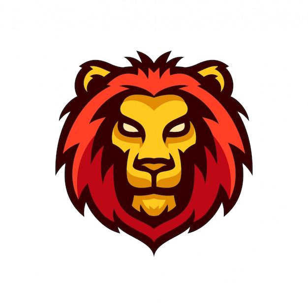 Illustrazione di vettore del modello della mascotte di logo della testa del leone