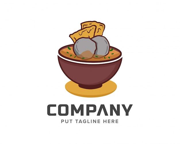 Illustrazione di vettore del modello di logo del cuoco unico di polpetta bakso