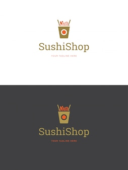 Illustrazione di vettore del modello di logo dell'emblema del ristorante dei sushi.