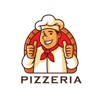 Illustrazione di vettore del modello di logo della mascotte del carattere del cuoco unico