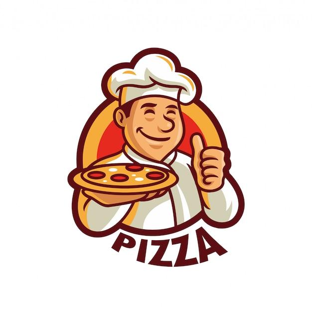 Illustrazione di vettore del modello di logo della mascotte del cuoco unico della pizza