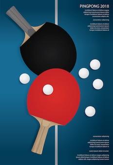 Illustrazione di vettore del modello di manifesto di pingpong