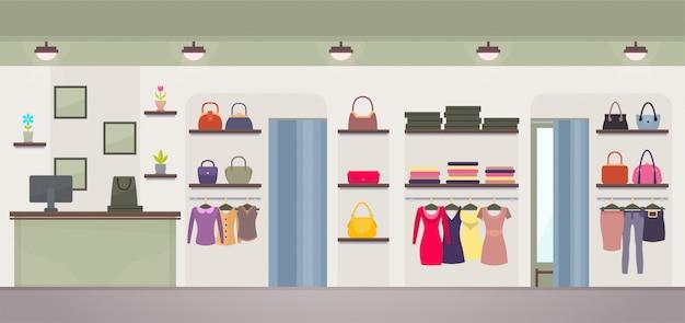 Illustrazione di vettore del negozio di abbigliamento femminile