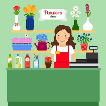 Illustrazione di vettore del negozio di fiore con la macchina del registratore di cassa di signora di vendite e fiori differenti in vasi