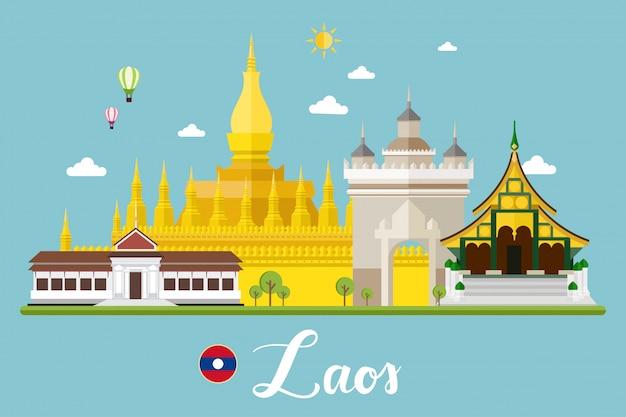 Illustrazione di vettore del paesaggio di viaggio del laos