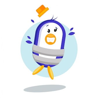 Illustrazione di vettore del pinguino legato