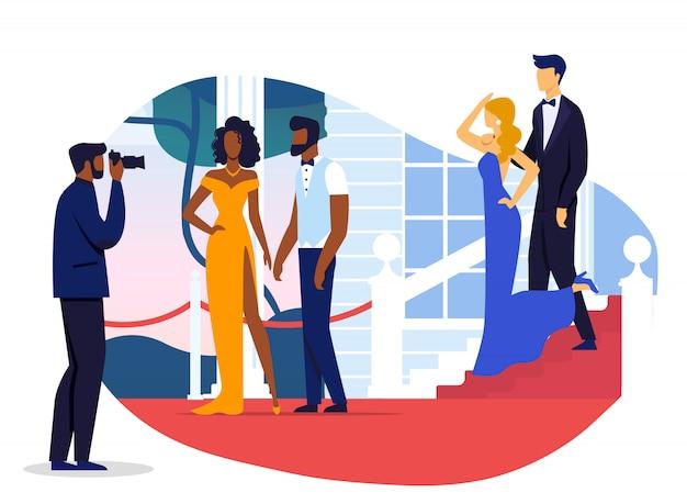 Illustrazione di vettore del servizio fotografico delle coppie della celebrità