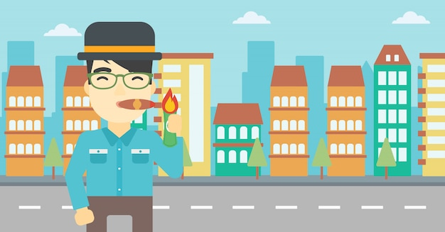 Illustrazione di vettore del sigaro di fumo dell'uomo d'affari.