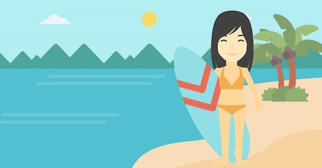 Illustrazione di vettore del surf della tenuta del surfista
