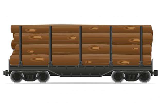 Illustrazione di vettore del treno ferroviario carrozza