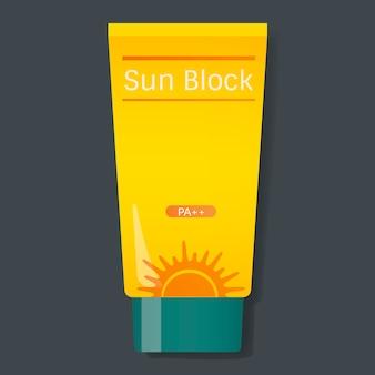 Illustrazione di vettore del tubo giallo di protezione di blocco del sole