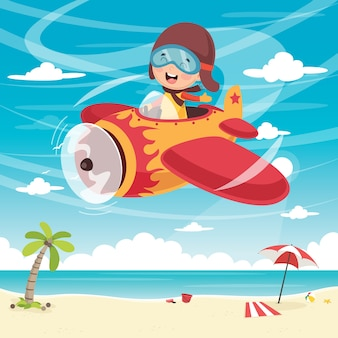 Illustrazione di vettore dell'aereo di volo del bambino