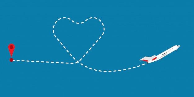Illustrazione di vettore dell'aeroplano di volo del percorso dell'itinerario di amore