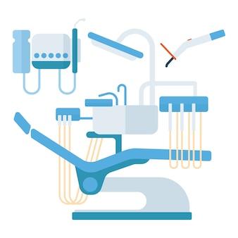 Illustrazione di vettore dell'attrezzatura di stomatologia della sedia del dentista.