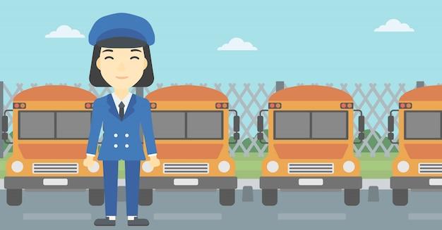 Illustrazione di vettore dell'autista di scuolabus.