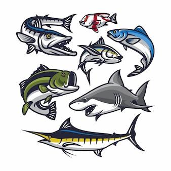 Illustrazione di vettore dell'icona della mascotte di pesce