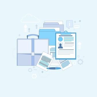 Illustrazione di vettore dell'insegna di web di affari di posizione di lavoro del candidato di reclutamento di curriculum vitae