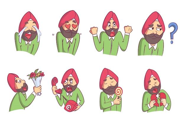 Illustrazione di vettore dell'insieme dell'uomo del punjabi del fumetto.
