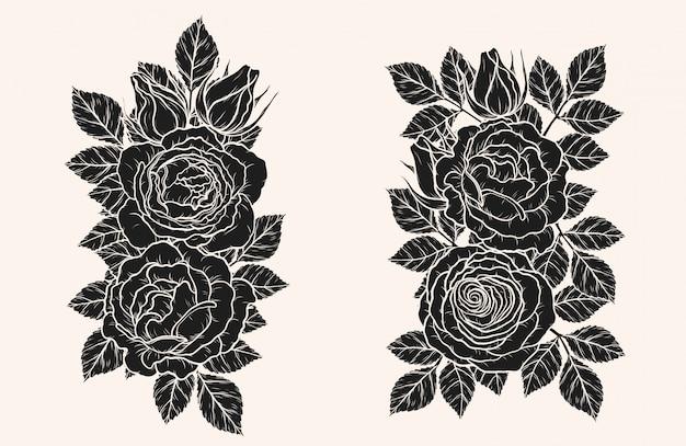 Illustrazione di vettore dell'ornamento della rosa a mano
