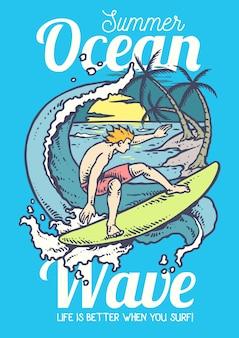 Illustrazione di vettore dell'uomo che pratica il surfing sull'oceano