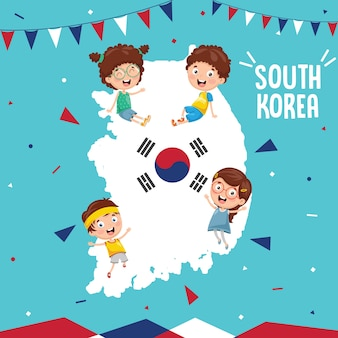 Illustrazione di vettore della bandiera e dei bambini della corea del sud