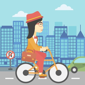 Illustrazione di vettore della bicicletta di guida della donna.