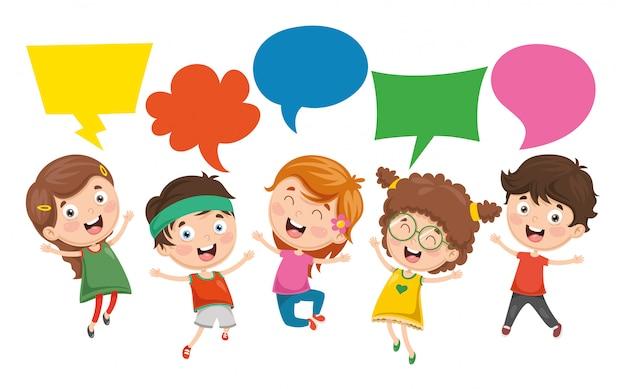 Illustrazione di vettore della bolla di discorso dei bambini