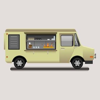 Illustrazione di vettore della caffetteria mobile mobile modificabile