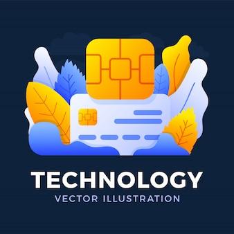 Illustrazione di vettore della carta di credito e del chip isolata. il concetto di tecnologia digitale nel settore bancario. carta di credito bancaria con chip emv.