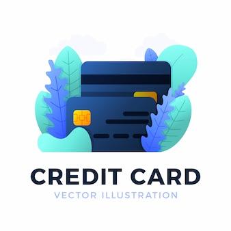 Illustrazione di vettore della carta di credito isolata. il concetto di mobile banking e apertura di un conto bancario. illustrazione alla moda di colore con figure e foglie astratte.