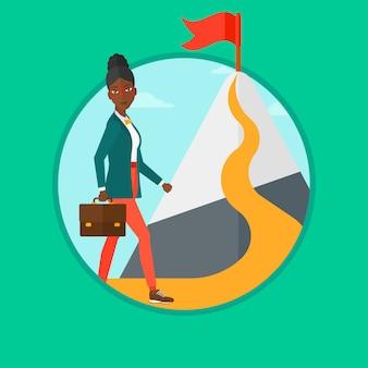 Illustrazione di vettore della donna allegra leader.