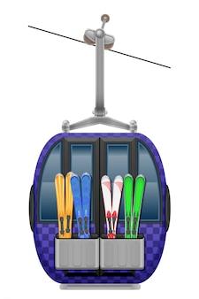 Illustrazione di vettore della funivia dello sci della cabina