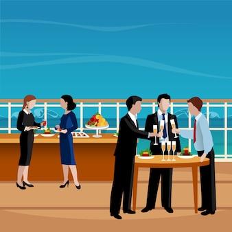 Illustrazione di vettore della gente del pranzo di lavoro colorata piano