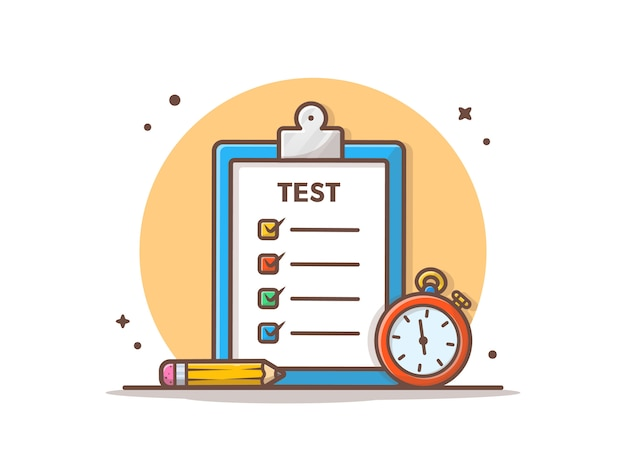 Illustrazione di vettore della prova dell'esame e di lavoro