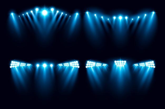 Illustrazione di vettore della raccolta di illuminazione dell'arena dello stadio