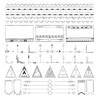 Illustrazione di vettore della raccolta di scarabocchio del disegno della mano di boho