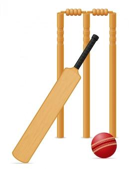 Illustrazione di vettore della sfera e del wicket del pipistrello dell'attrezzatura del cricket