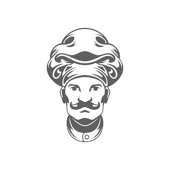 Illustrazione di vettore della siluetta del fronte dell'uomo del cuoco unico isolata su fondo bianco.
