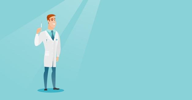 Illustrazione di vettore della siringa della holding del medico.