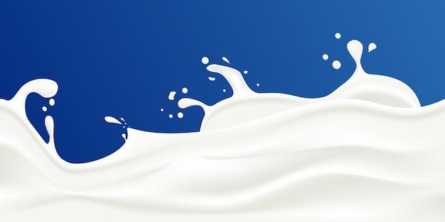 Illustrazione di vettore della spruzzata del latte su una priorità bassa blu.