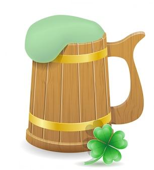 Illustrazione di vettore della tazza di birra del giorno di san patrizio