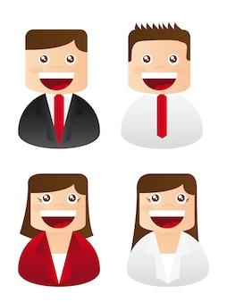 Illustrazione di vettore delle icone della donna di affari e del busineessman