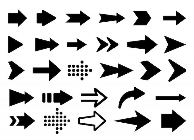 Illustrazione di vettore delle icone della freccia messe