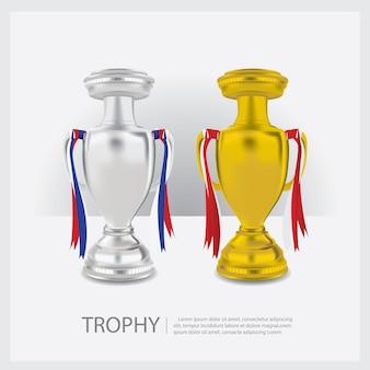 Illustrazione di vettore delle tazze e dei premi del trofeo