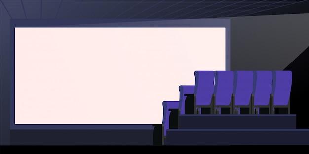 Illustrazione di vettore dello schermo bianco vuoto vuoto. interno del teatro foglio grande schermo con spazio di copia