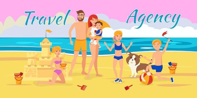 Illustrazione di vettore di agenzia di viaggi con lettering