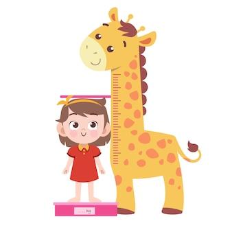 Illustrazione di vettore di altezza di misura del bambino isolata