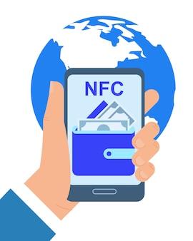 Illustrazione di vettore di app di pagamento di nfc del telefono cellulare della tenuta della mano