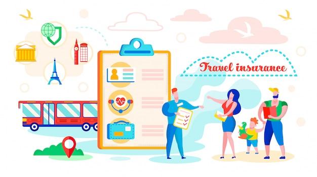 Illustrazione di vettore di assicurazione di viaggio dell'iscrizione.