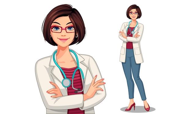 Illustrazione di vettore di bella giovane signora medico